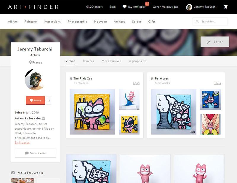 Vente en ligne sur Artfinder.