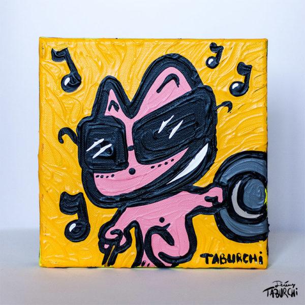 Chat Rose Crooner, peinture sur toile de Taburchi