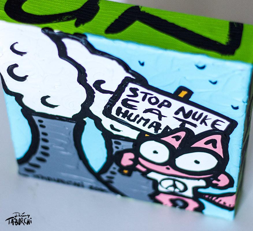 """Stop Nuke, Eat Humans"" du  Chat Rose"