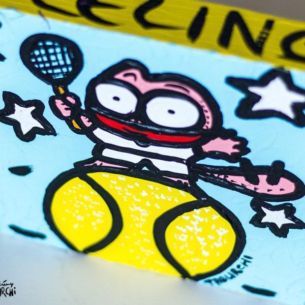Tableau Chat Rose Tennis-man de Taburchi