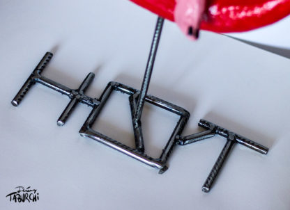 Sculpture Hot Cat métal et impression 3D de Jérémy Taburchi