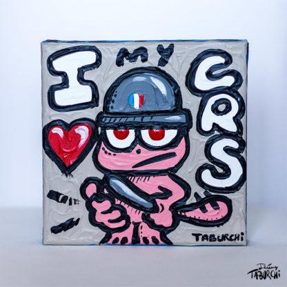 """Toile du """"I Love My CRS"""" peinte après les attentats de Charlie Hebdo."""