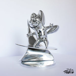 sculpture Surfin'Chat Rose