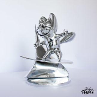 sculpture Surfin'Chat Rose en aluminium poli par Jérémy Taburchi
