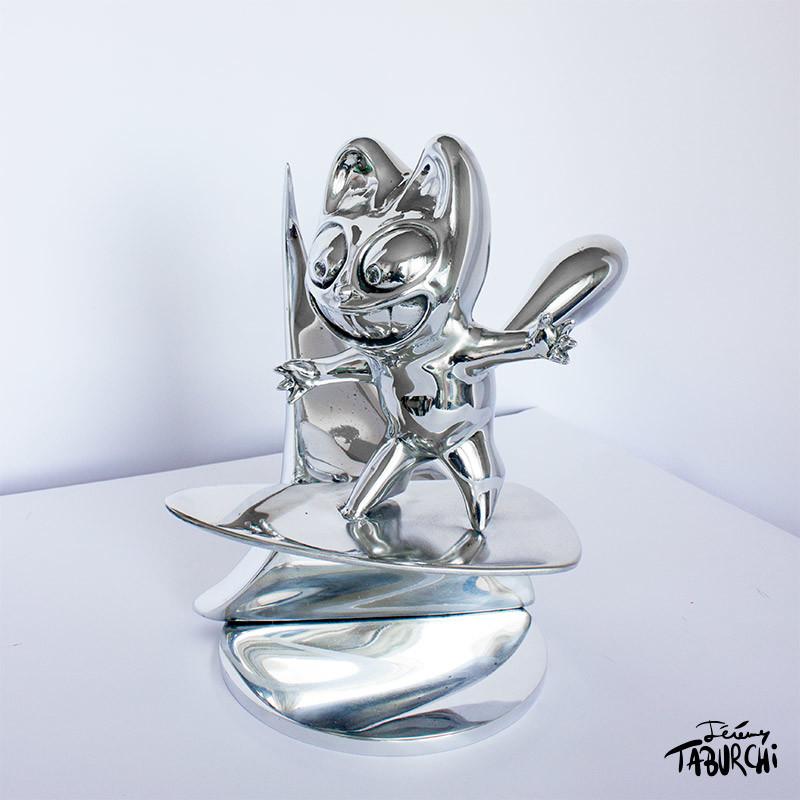 sculpture Surfin'Chat Rose