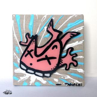 Le Chat Rose se casse les dents, une acrylique sur toile de Taburchi.