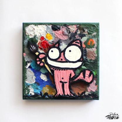 Chat Rose en Pink Painter