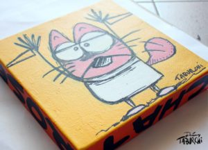 Chat Rose en gravure rupestre