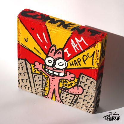 Taburchi cat, street-art style, acrylic on cardboard