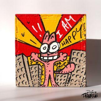 Chat Rose de Taburchi façon street-art, acrylique sur carton
