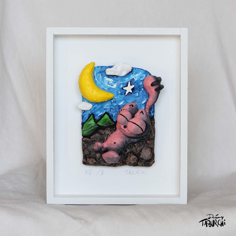 Bas relief le Chat et la Lune version lune jaune