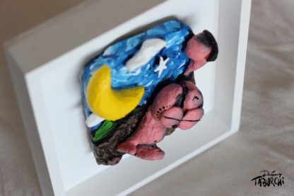 Bas relief Cat and Moon yellow moon version
