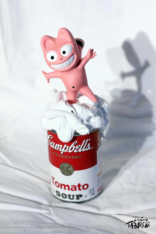 """Happy"" Campbells'Soup du Chat Rose en impression 3D"