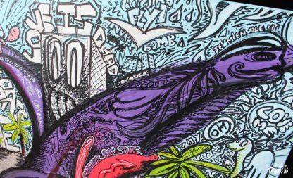 Toile graffiti du Chat Rose