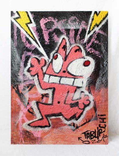 Un tableau façon tag et graffiti sur toile texturée