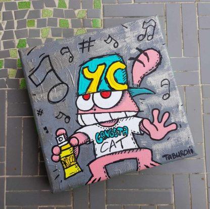 Bombe de graffeur pour ce Chat Rose version street-artiste