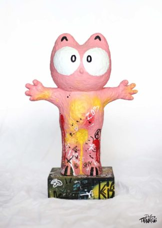 Real street-art sculpture of the Pink Cat