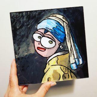 La Jeune Fille à la perle de Vermeer façon Chat Rose de Taburchi